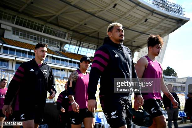 Sean Stevenson and Isaia Walker-Leawere arrive for a Maori All Blacks captain's run at Mt Smart Stadium on July 02, 2021 in Auckland, New Zealand.