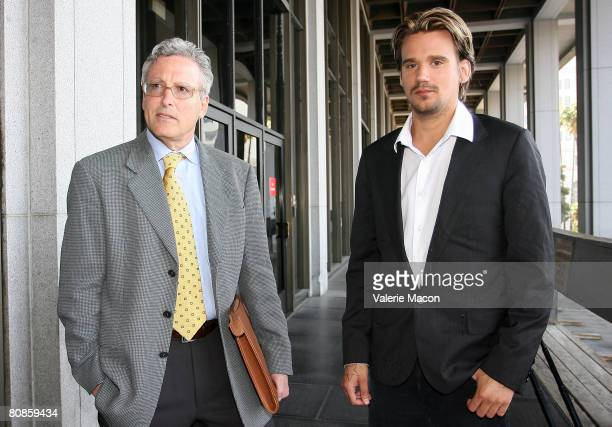 Sean Stewart and his lawyer leave the Los Angeles Superior Court after his appearance for his trial appearance April 25 2008 in Los Angeles...