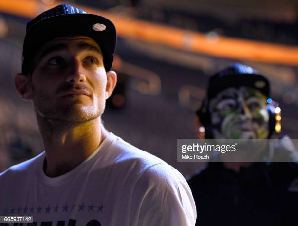 Sean Strickland and Kamaru Usman of Nigeria wait backstage during the UFC 210 weighin at KeyBank Center on April 7 2017 in Buffalo New York