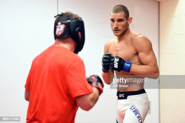 Sean Strickland warms up backstage during the UFC 210 event at the KeyBank Center on April 8 2017 in Buffalo New York