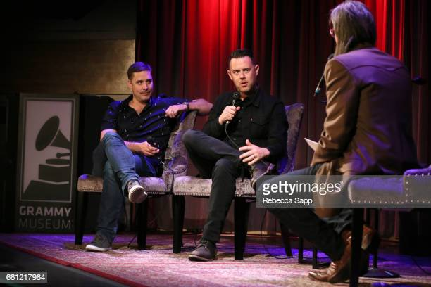 Sean Stuart and Colin Hanks speak with Vice President of the GRAMMY Foundation Scott Goldman at Reel to Reel Eagles of Death Metal Our Friends at The...