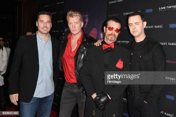 Sean Stuart Josh Homme Jesse Hughes and Colin Hanks attend 'Eagles of Death Metal Nos Amis ' premiere from HBO Live Nation Productions on February 2...