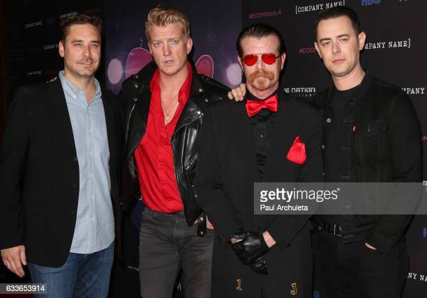 Sean Stuart Josh Homme Jesse Hughes and Colin Hanks attends the premiere of HBO's 'Eagles Of Death Metal Nos Amis ' at Avalon Hollywood on February 2...