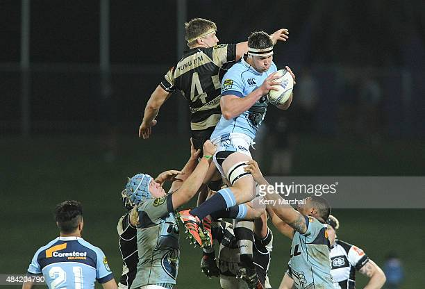 Sean Sweetman of Northland takes a lineout during the round one ITM Cup match between Hawke's Bay and Northland on August 16 2015 in Napier New...