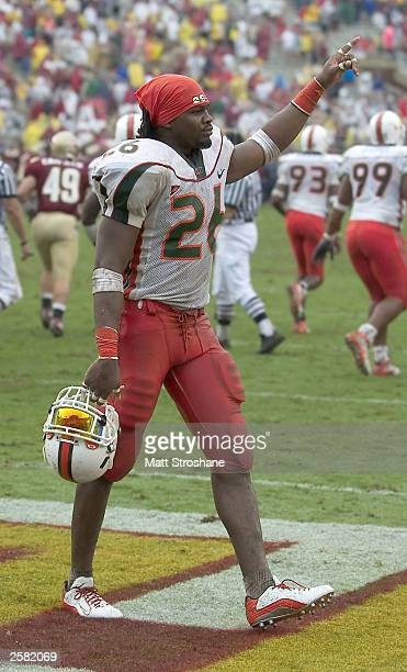 Sean Taylor of the Miami Hurricanes celebrates the Hurricanes victory over the Florida State Seminoles at Doak Campbell Stadium on October 11 2003 in...