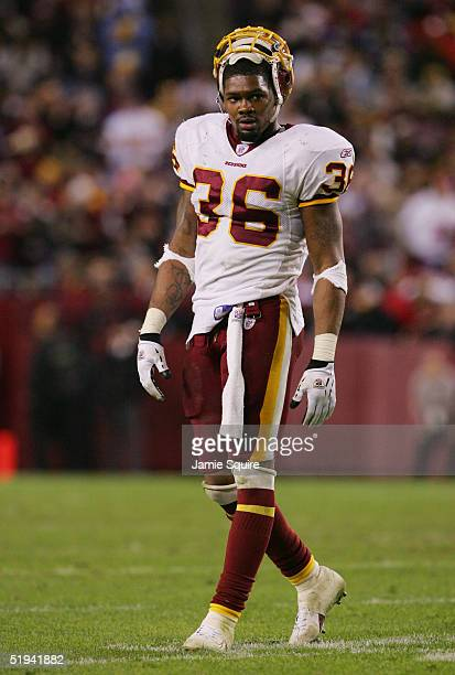 Sean Taylor of the Washington Redskins is seen on the field during the game against the New York Giants at Fed Ex Field on December 5 2004 in...