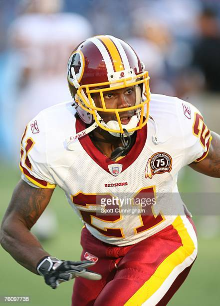 Sean Taylor of the Washington Redskins warms up before the game against the Tennessee Titans at LP Field on August 11 2007 in Nashville Tennessee The...