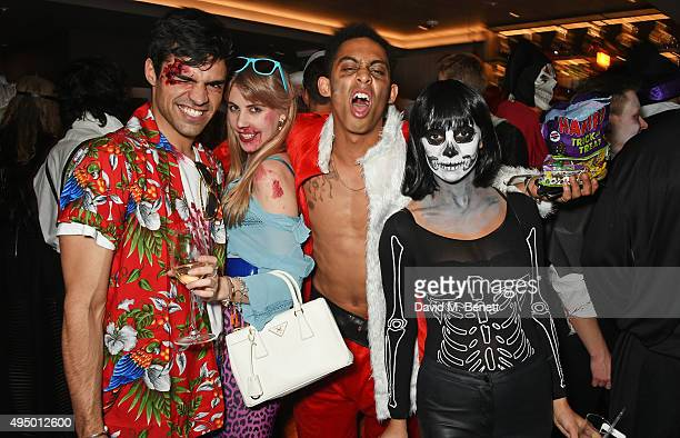 Sean Teale India Rose James Jordan Stephens and Roxie Nafousi attend Hallowzeen at M Restaurant on October 30 2015 in London England