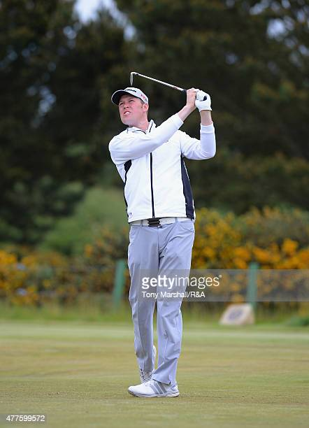 Sean Towndrow of Southport and Ainsdale plays shot his first on the 13th tee during The Amateur Championship 2015 Day Four at Carnoustie Golf Club on...