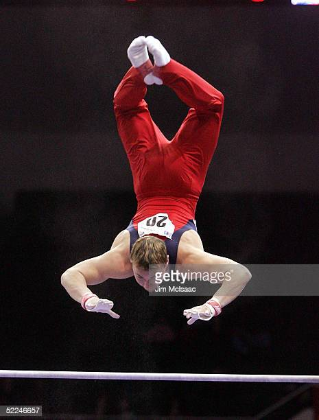 Sean Townsend of the United States performs on the horizontal bar during the 2005 American Cup gymnastics competition on February 26 2005 at Nassau...