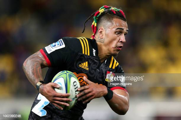 Sean Wainui of the Chiefs in action during the Super Rugby Qualifying Final match between the Hurricanes and the Chiefs at Westpac Stadium on July 20...