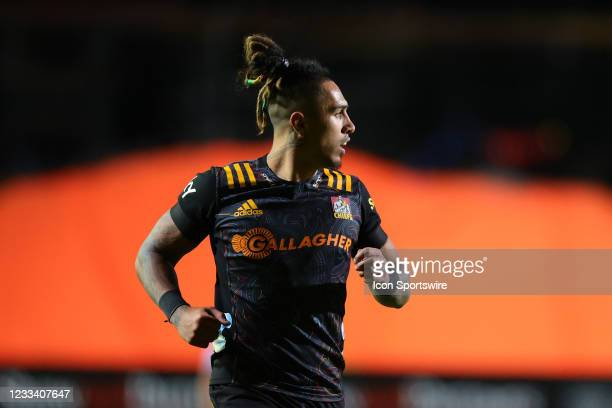 Sean Wainui of the Chiefs looks on during the round five Super Rugby Trans Tasman match between the NSW Waratahs and Chiefs at Brookvale Oval on June...