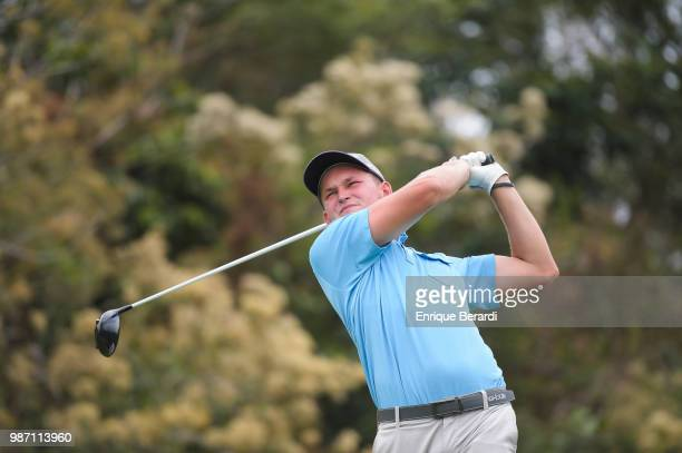 Sean Walsh of the United States hits a tee shot on the fifth hole during the second round of the PGA TOUR Latinoamérica Guatemala Stella Artois Open...
