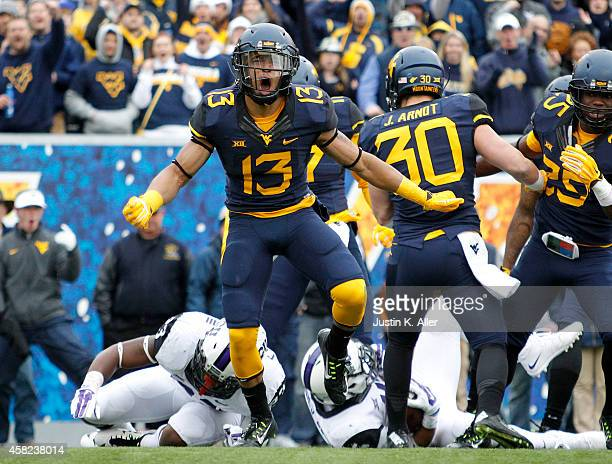 Sean Walters of the West Virginia Mountaineers reacts after making a tackle on a kickoff in the first quarter during the game against the TCU Horned...