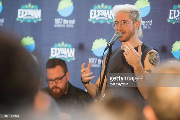Sean Waugaman and Nicholas Petricca of Walk The Moon perform during an EndSession hosted by 1077 The End at Elysian Capitol Hill on February 16 2018...