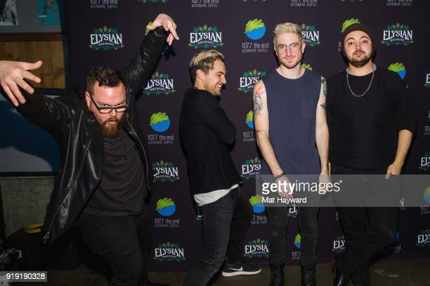 Sean Waugaman Kevin Ray Nicholas Petricca and Eli Maiman of Walk The Moon pose for a photo after performing an EndSession hosted by 1077 The End at...