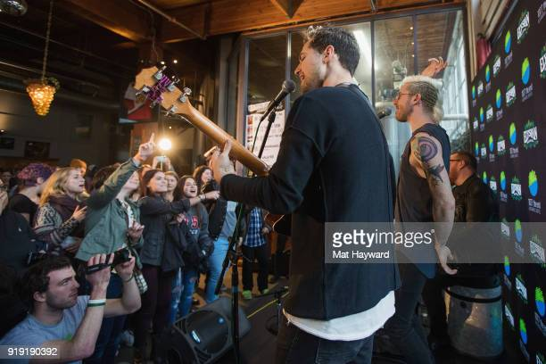 Sean Waugaman Nicholas Petricca and Kevin Ray of Walk The Moon perform during an EndSession hosted by 1077 The End at Elysian Capitol Hill on...