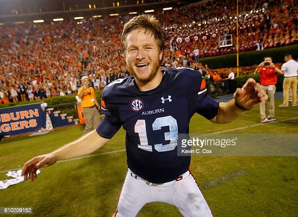 Sean White of the Auburn Tigers celebrates their 1813 win over the LSU Tigers at JordanHare Stadium on September 24 2016 in Auburn Alabama