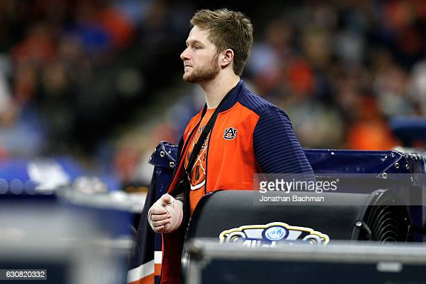 Sean White of the Auburn Tigers stands on the sideline with an injury during the game against the Oklahoma Sooners during the Allstate Sugar Bowl at...