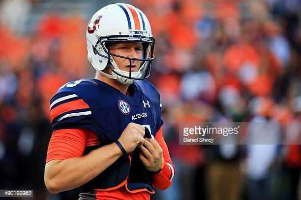 Sean White of the Auburn Tigers warms up prior to the game against the Mississippi State Bulldogs at Jordan Hare Stadium on September 26 2015 in...