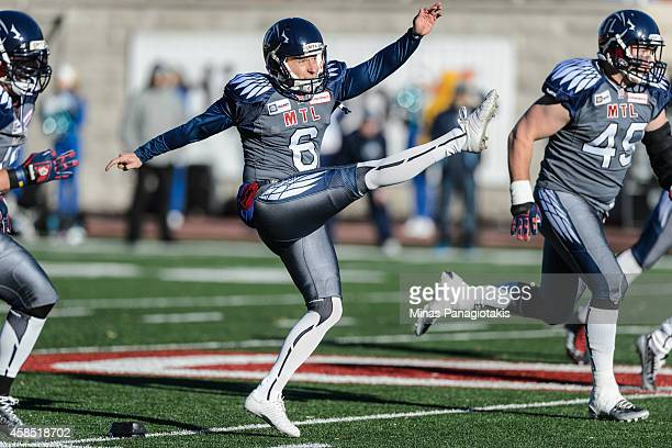 Sean Whyte of the Montreal Alouettes kicks the ball during the CFL game against the Toronto Argonauts at Percival Molson Stadium on November 2 2014...