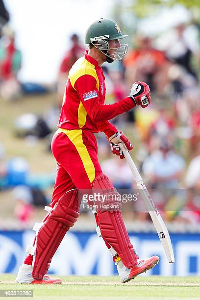 Sean Williams of Zimbabwe celebrates after scoring the final runs to win the 2015 ICC Cricket World Cup match between Zimbabwe and the United Arab...