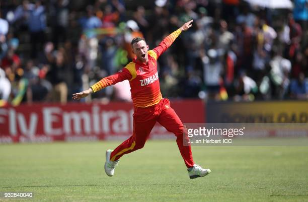 Sean Williams of Zimbabwe celebrates the wicket of Kevin O'Brien of Ireland during The ICC Cricket World Cup Qualifier between Ireland and Zimbabwe...