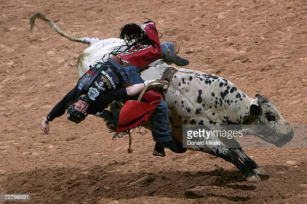 Sean Willingham holds onto Shallow Hal during the Professional Bull Riders World Finals at Mandalay Bay Casino and Hotel October 29, 2006 in Las...