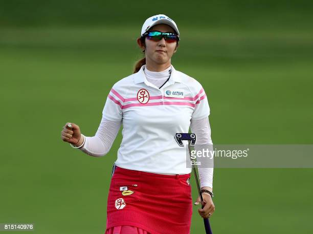 Sean Woo Bae of Korea celebrates her final putt on the 18t green during the US Women's Open round three on July 15 2017 at Trump National Golf Club...