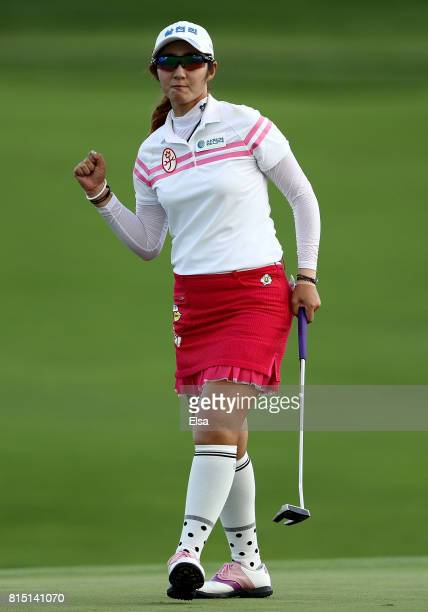 Sean Woo Bae of Korea celebrates her final putt on the 18t green during the U.S. Women's Open round three on July 15, 2017 at Trump National Golf...