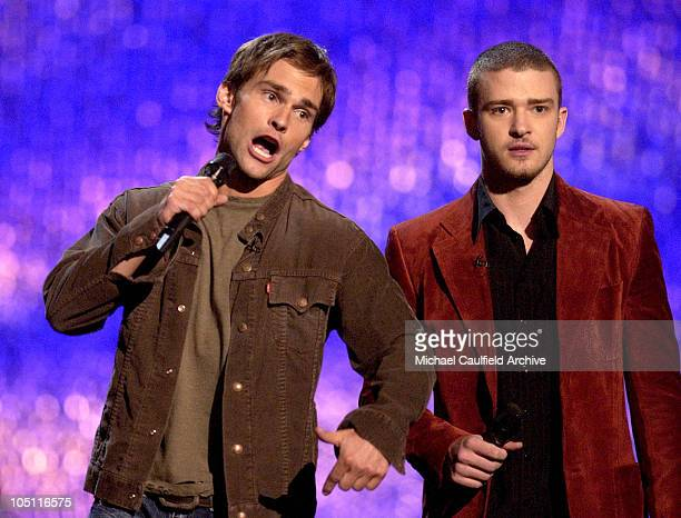 Seann William Scott and Justin Timberlake hosts during 2003 MTV Movie Awards Show at The Shrine Auditorium in Los Angeles California United States
