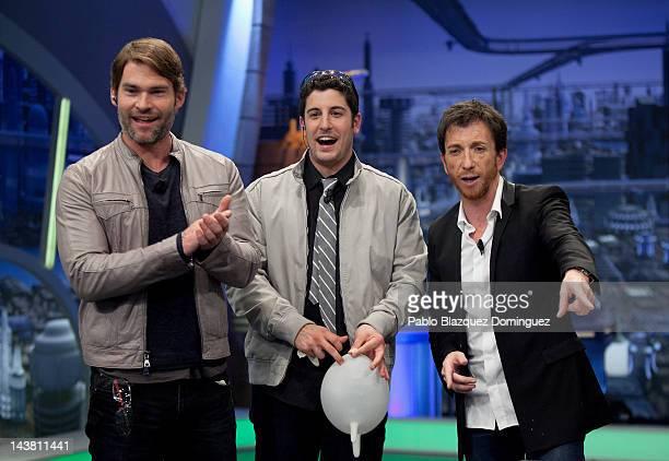 Seann Willian Scott Jason Biggs and Pablo Motos attend 'El Hormiguero' Tv Show at Vertice Studios on May 3 2012 in Madrid Spain