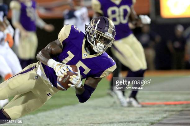 Seantavius Jones of Atlanta Legends makes a first down reception against the Orlando Apollos during the first quarter on February 09 2019 in Orlando...