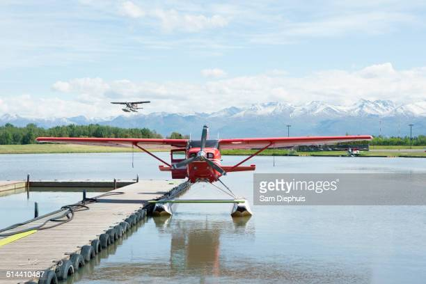Seaplane docked in rural river