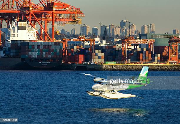 A seaplane flies February 19 2009 in Vancouver British Columbia Canada Vancouver is the host city for the 2010 Winter Olympic Games being held...