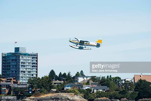 A Seaplane flies into Victoria Harbor, Canada
