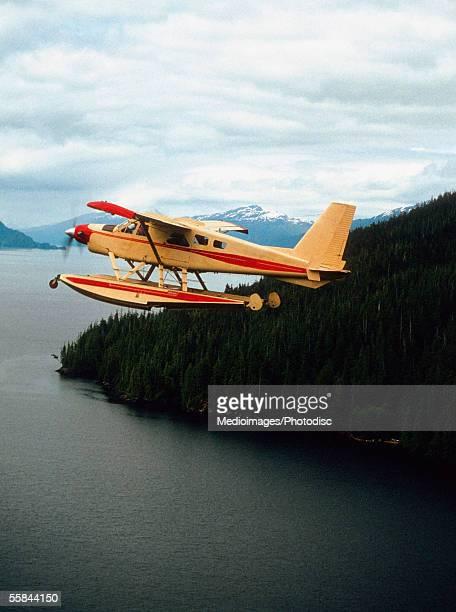 Seaplane flying near Ketchikan, Alaska, USA