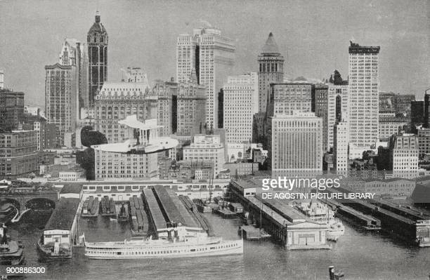 Seaplane in front of the skyscrapers of New York United States of America from L'Illustrazione Italiana Year XLIX No 33 August 13 1922