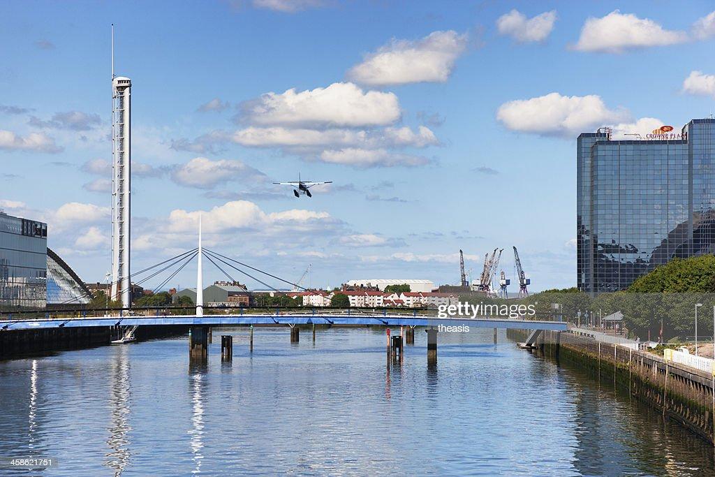 Seaplane Landing In Glasgow : Stock Photo