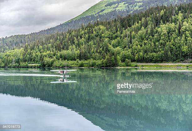 Seaplane landing, Moose Pass, Alaska, USA