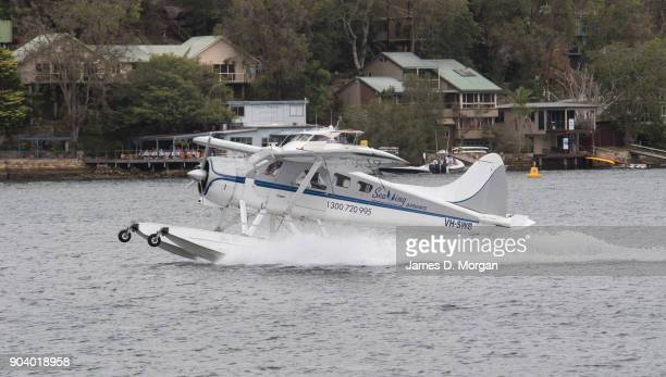 A seaplane lands at Cottage Point on January 08 2018 in Sydney Australia