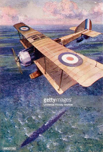A Seaplane Of The England's Royal Naval Air Service Tracking A German Submarine During The First World War From The Year 1917 Illustrated Published...