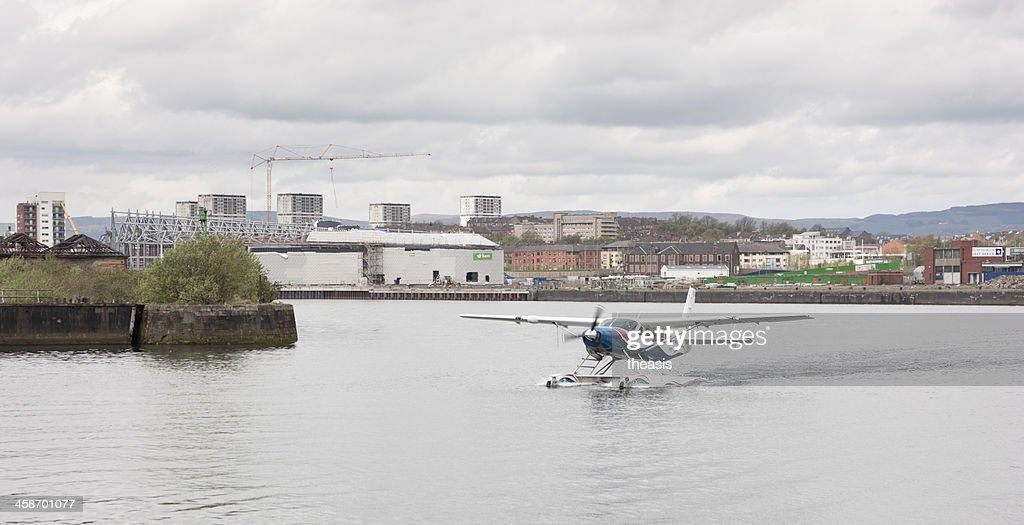 Seaplane On The River Clyde In Glasgow : Stock Photo