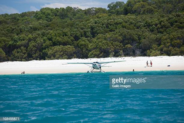 Seaplane on Whitehaven Beach, Hill Inlet, Tounge Point, Whitsunday Island, Whitsunday Islands, Queensland, Australia