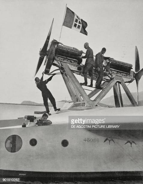 Seaplane, with the flag of the Kingdom of Italy on the propelling tower, ready to take off and fly over the Atlantic Ocean, Orbetello, Italy, photo...