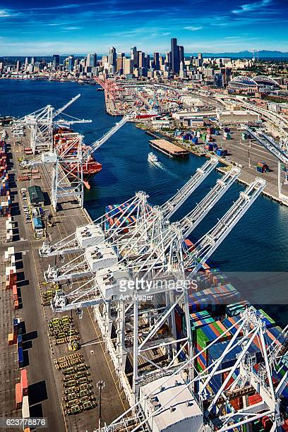 seaport of seattle washington aerial - pacific ocean stock pictures, royalty-free photos & images