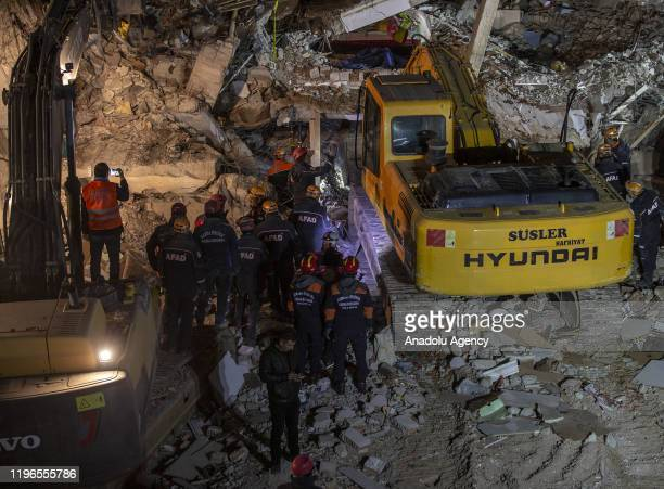 Search and rescue efforts continue in Sursuru neighborhood after 68magnitude earthquake jolted eastern Turkish province of Elazig on January 26 2020...