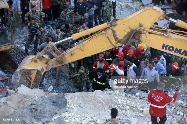 Search and rescue operations continues at Sarpole Zahab province of Kermanshah Iran on November 13 2017 following a 73 magnitude earthquake that hit...