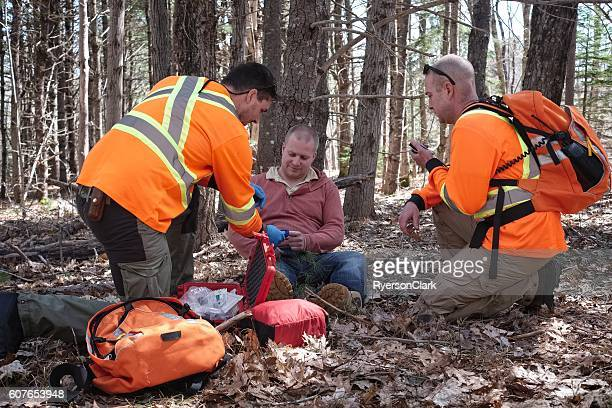 Search and Rescue team in the forest, Nova Scotia, Canada.