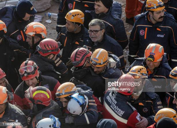 Search and rescue teams are seen as search and rescue efforts end after the last body trapped under the debris was recovered in Turkey's eastern...